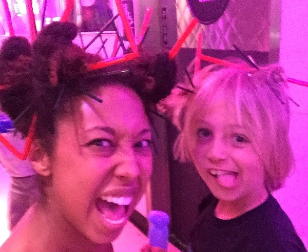 Straws in our hair at Corvette Diner