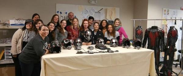 Bloggers on exclusive media set tour, Marvel's ANT-MAN movie, Costume department, Atlanta, GA