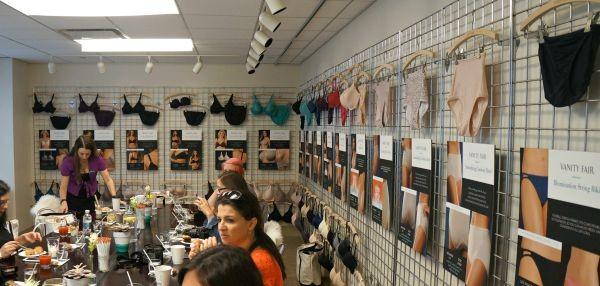 Bras and panties display at Vanity Fair Showroom, New York