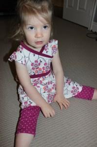 Tea Collection Joburg wrap-neck dress and pin print rib leggings