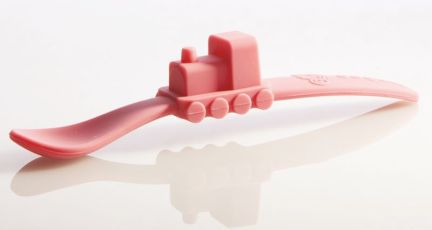 oogaa silicone pink train spoon