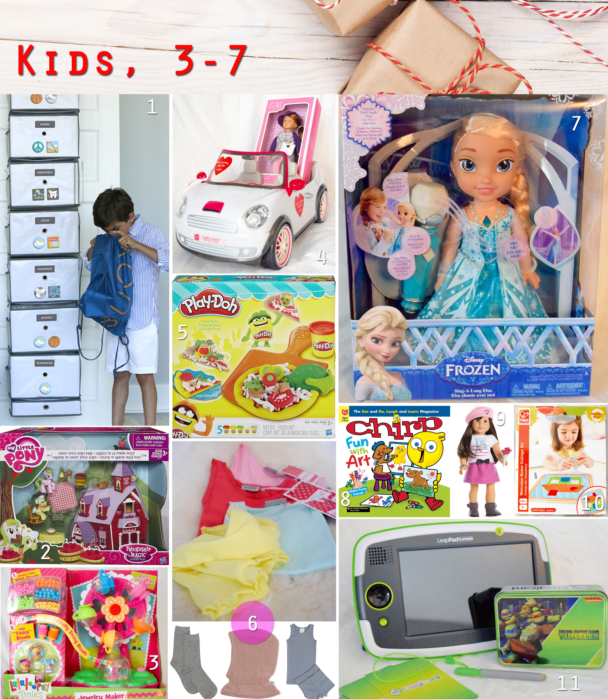 2015 gift guide - ages 3 to 7 gifts collage