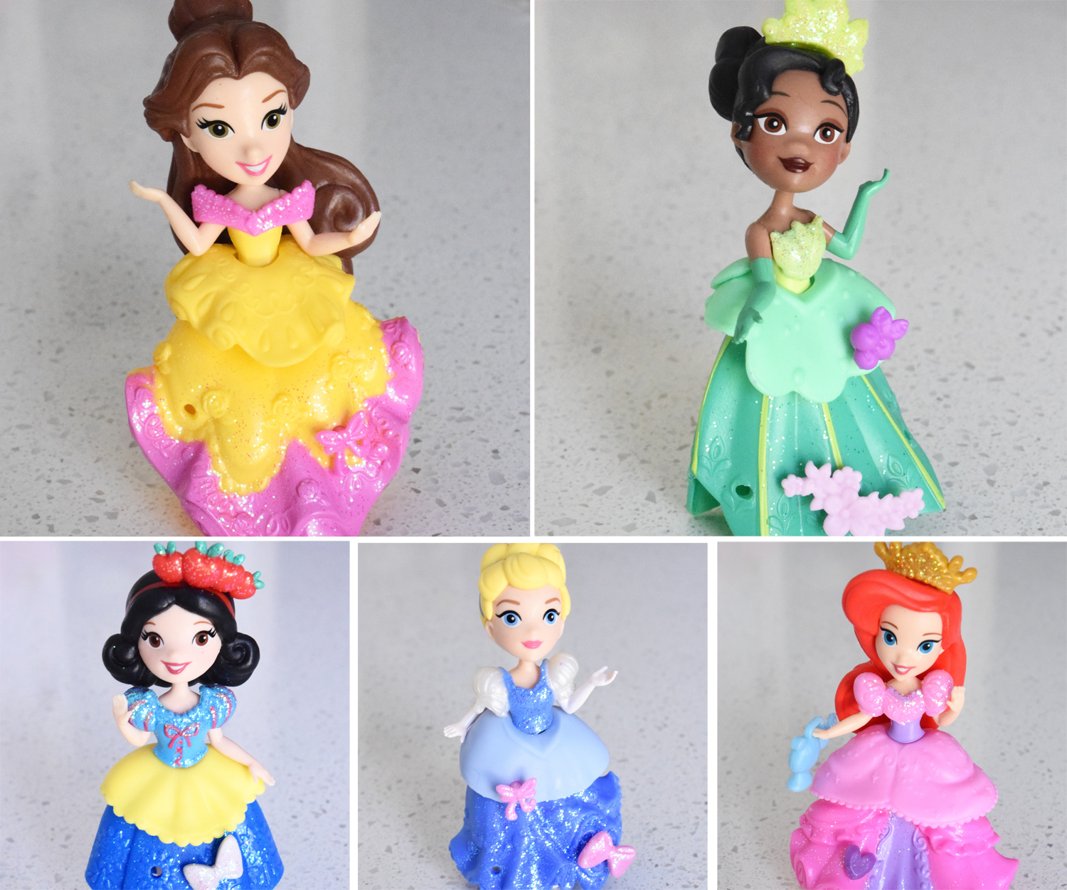 Mini Disney Princess dolls rubber dresses