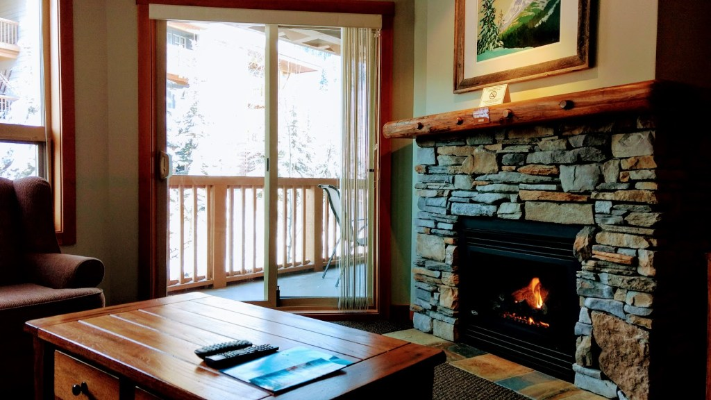 Fireplace in Panorama Springs Lodge one-bedroom condo