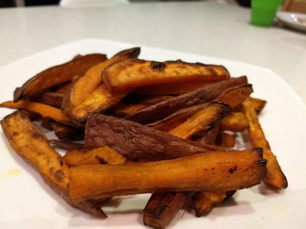 Air fried sweet potato fries.