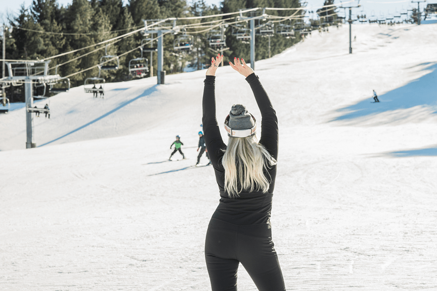 Slim-fitting women's ski pants.