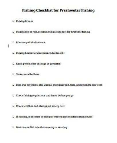 Fishing Checklist for Freshwater Fishing
