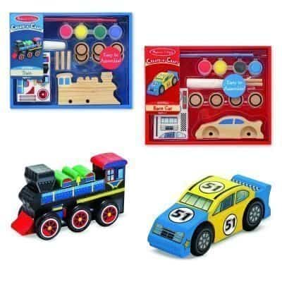 Melissa & Doug Decorate-Your-Own Wooden Train and Race Car Craft