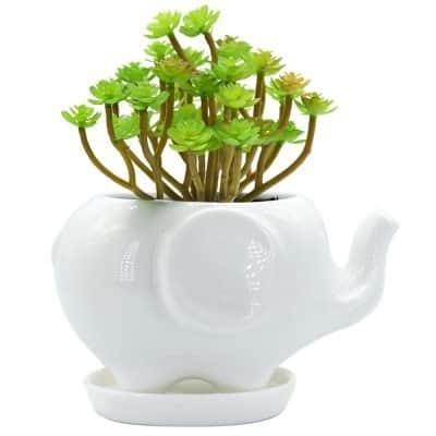 GeLive Elephant White Ceramic Succulent Planter