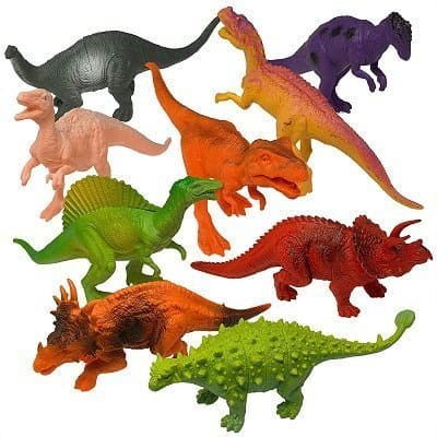 """Prextex 7"""" Dinosaur 12-Pack and Book for Kids"""