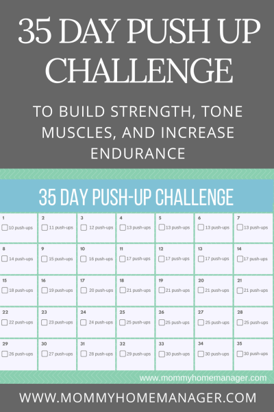 Push ups are a great exercise for toning, building strength, and recovering after an injury or postpartum. Try this work out challenge to work your way up to 30 pushups in a day.