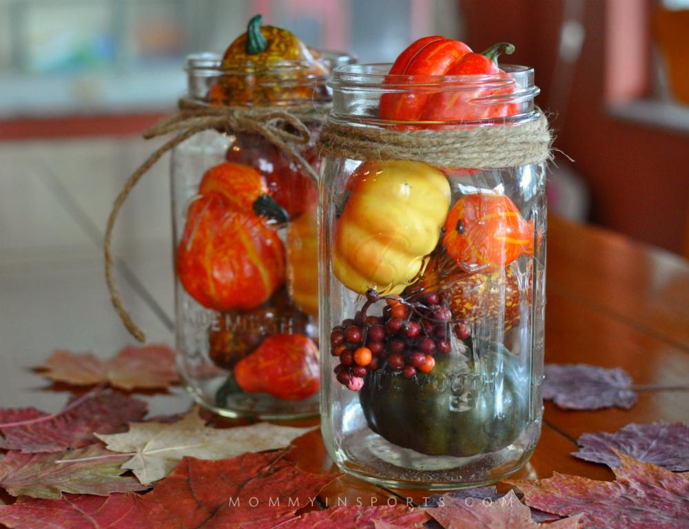 Easy Fall Decorations Mason Jars Leaves