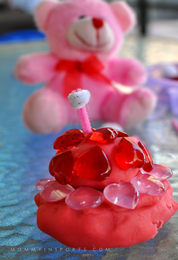 Homemade Valentines Playdoh Birthday cake