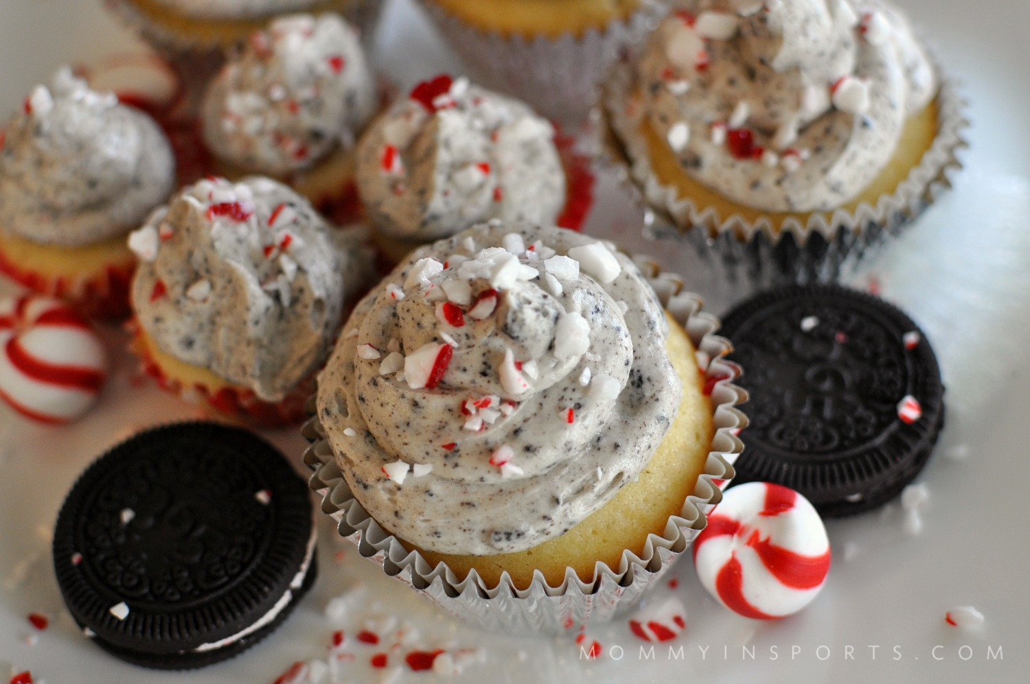 Looking for the perfect vanilla peppermint cupcakes recipe? Try these with some homemade peppermint Oreo frosting! Will spice up any holiday party!