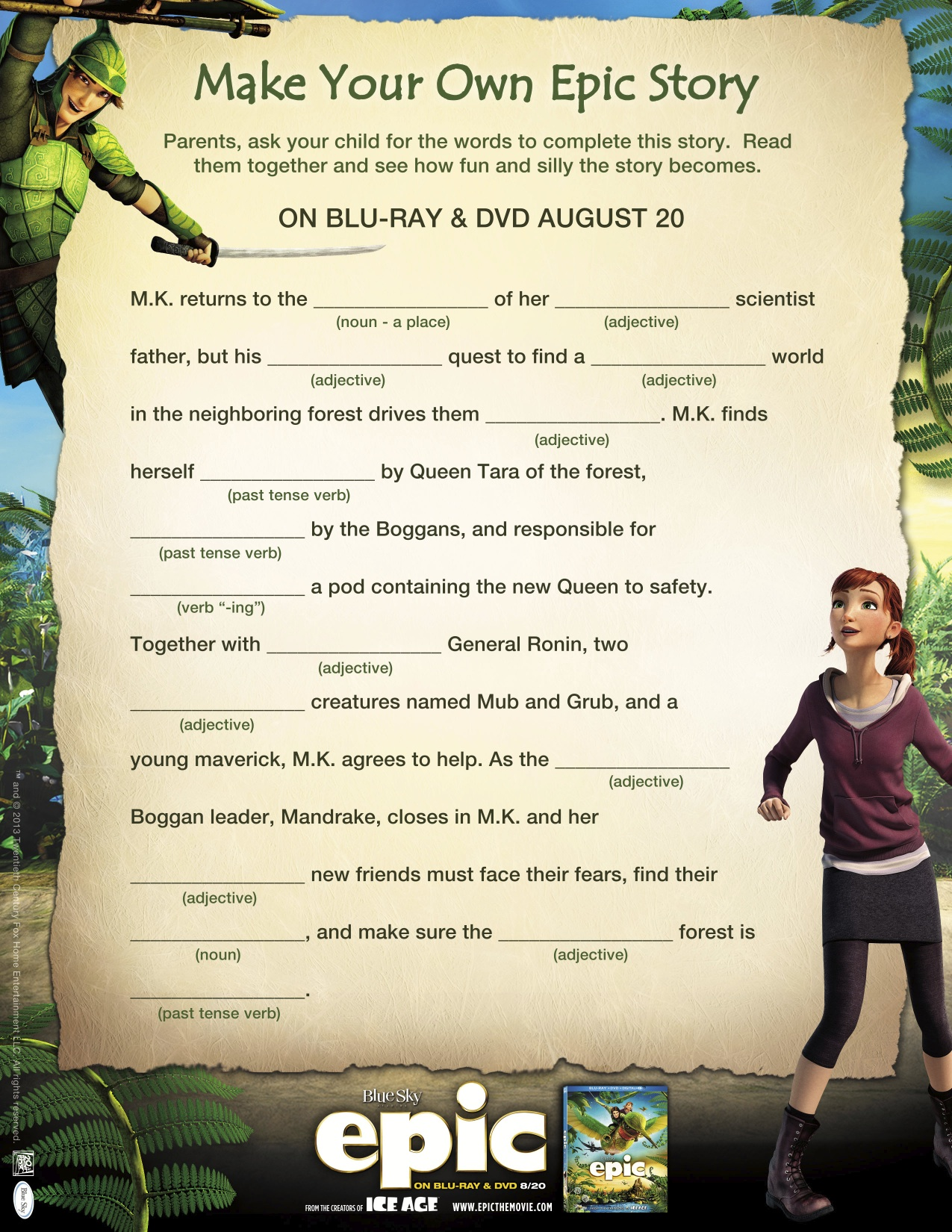 Epic Movie Fun Is Guaranteed With Printable Activity Sheets And Healthy Recipes Giveaway