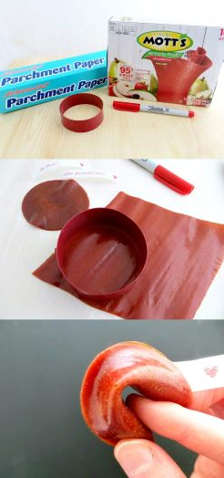 Fruit Roll-Up Fortune Cookies for Valentine's Day