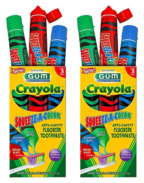 GUM® Crayola™ SQUEEZE-A-COLOR Toothpaste Review | Mommy Runs It