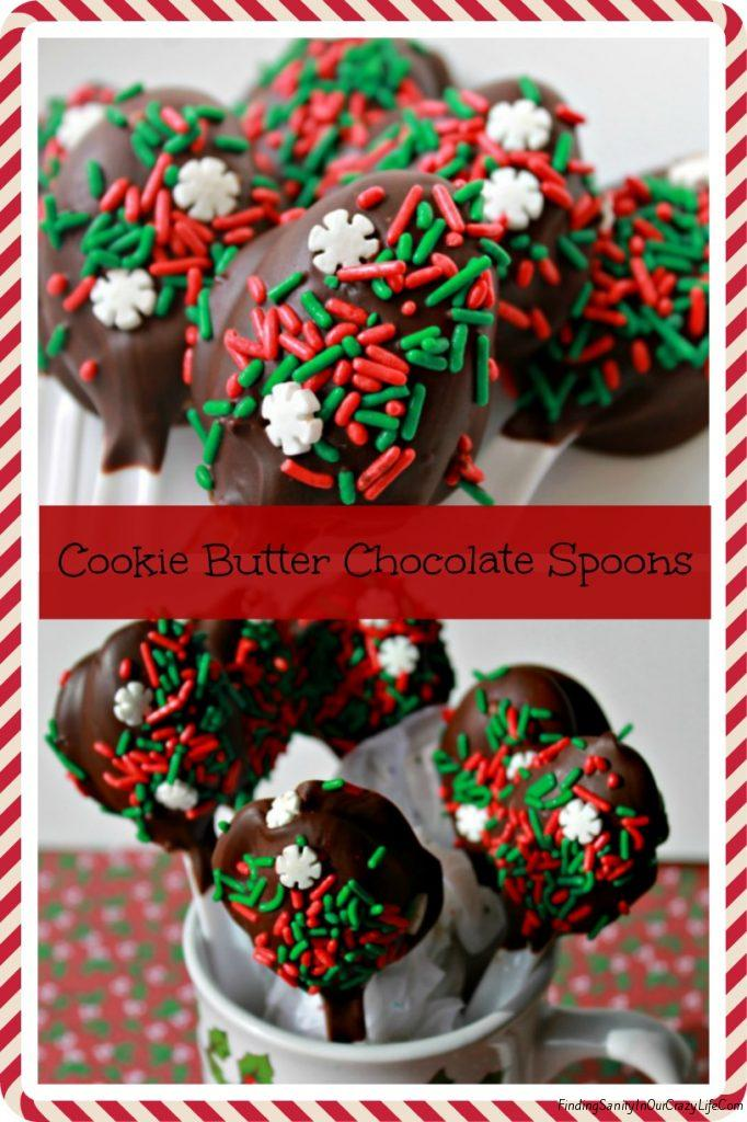 30 Days of Christmas Sweets: Cookie Butter Chocolate Covered Spoons #ChristmasSweets #ChristmasGifts #FoodGifts