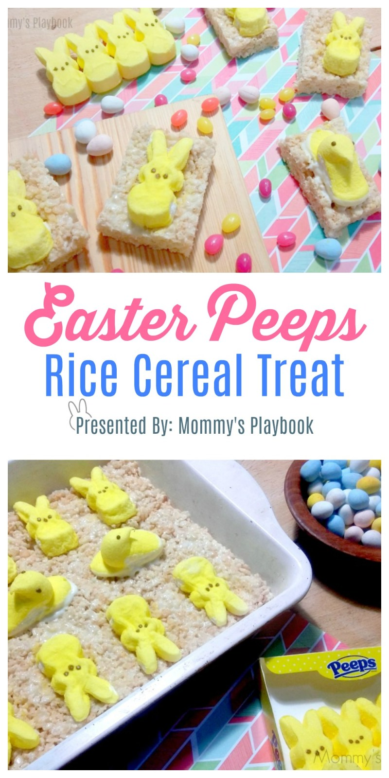 Rice Cereal Treat with Peeps! #Easter #EasterTreats #EasterSweetsandTreats