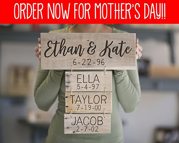 Family Names Handmade Sign at Amazon Handmade Personalized Gifts for Mother's Day