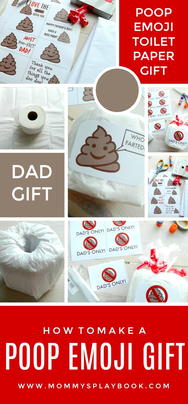 Father's Day Gift Poop Emoji Toilet Paper Gift FREE Printable and Toilet Paper Gift Tutorial #FathersDay #FathersDayGifts