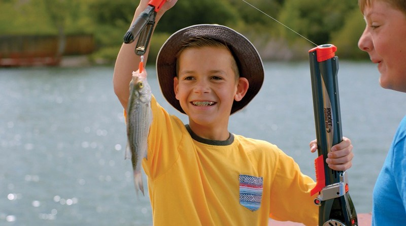 Rocket Fishing Rod, the kids fishing rod that accurately casts its line up to 30 feet. Great for kids of all ages, because it replaces standard kids fishing poles and takes the hassle out of fishing.