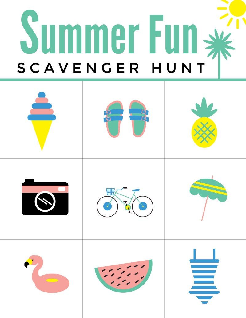 Summer Fun Scavenger Hunt Free Printable Worksheet for Kids!  Summer Activities for the Pool, BBQ, Beach, and MORE!  #FreePrintable #SummerFun #Summer #Pool #Swimming