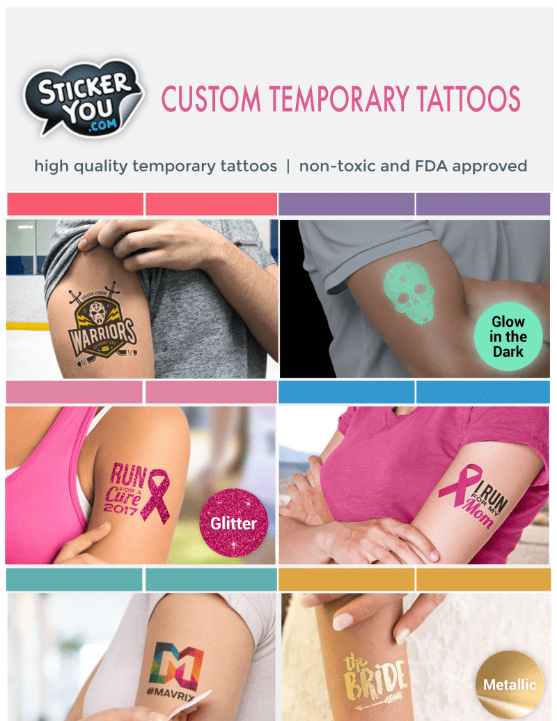 Custom temporary tattoos make a fun and unique addition to any occasion or promotional event #StickerYou #CustomTempTattoos
