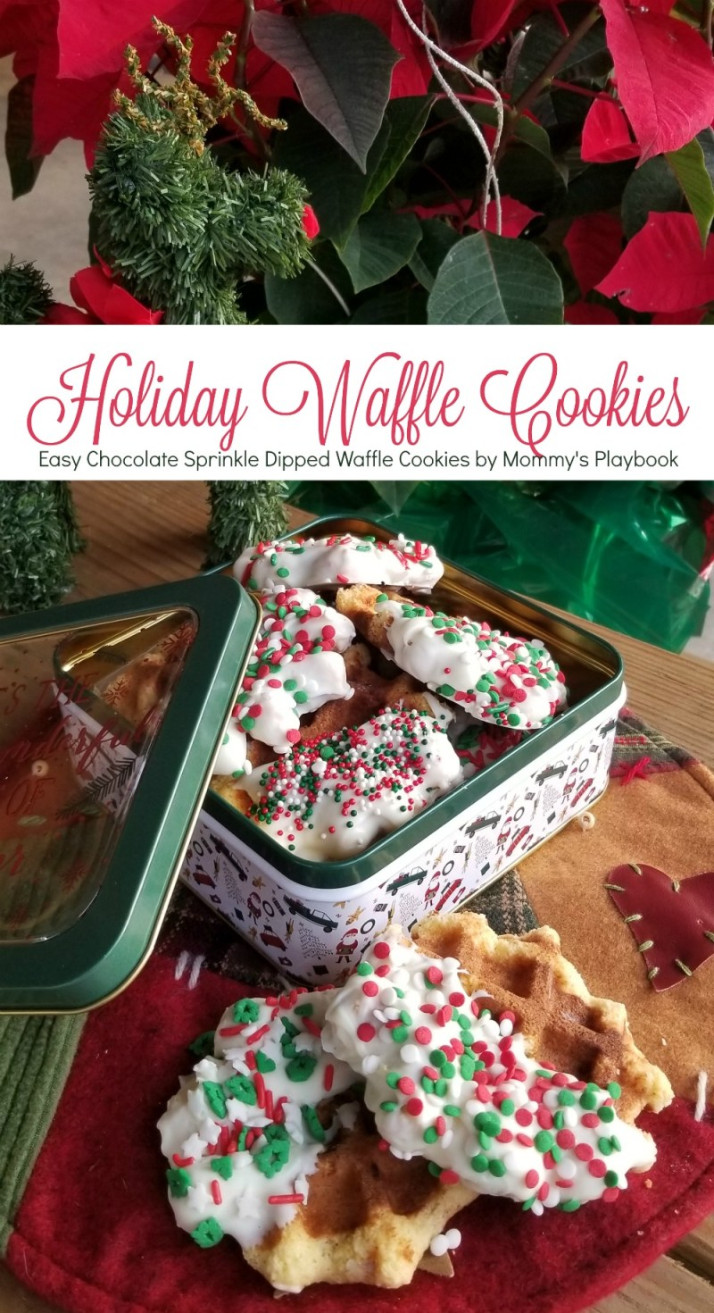 Easy White Chocolate Sprinkle Dipped Waffle Cookies by Mommy's Playbook; No Mixer and NO OVEN cookie; cake mix cookie recipe