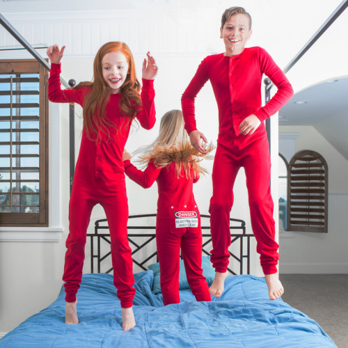 "Kid's Red Union Suit Pajamas ""DANGER BLAST AREA Sign on Rear Flap"