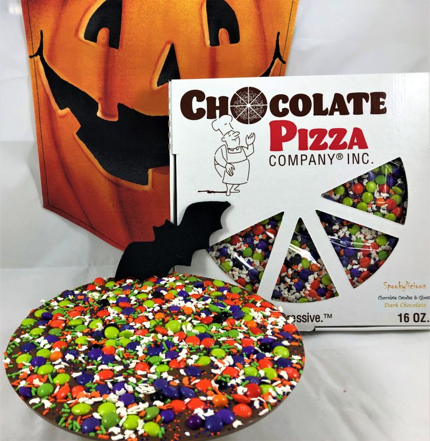 Spooky-licious Chocolate Pizza blends gourmet milk (or dark) chocolate with homemade English toffee.