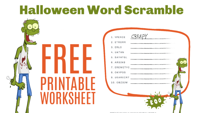 Free Halloween Word Scramble Worksheet