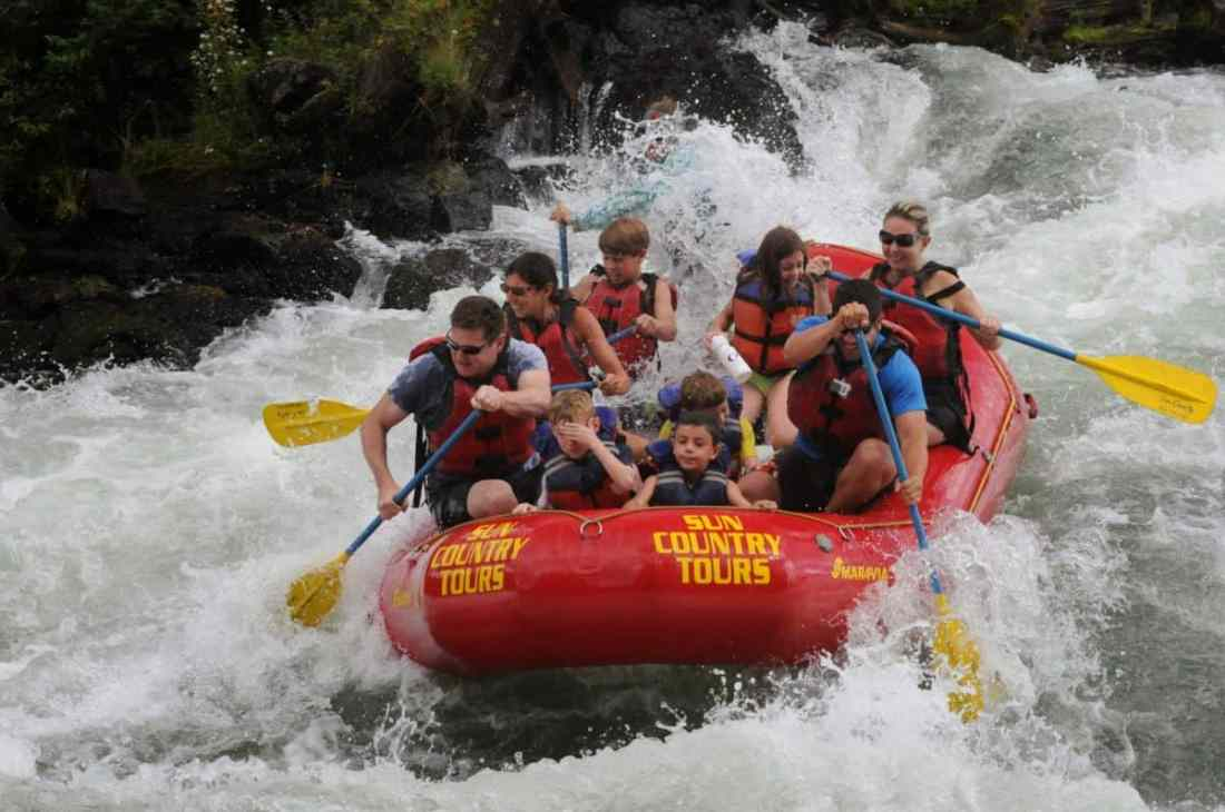 Whitewater rafting the Big Eddy near Bend, Oregon.