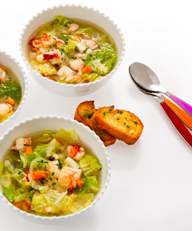 Cabbage & Lobster Soup with Chives