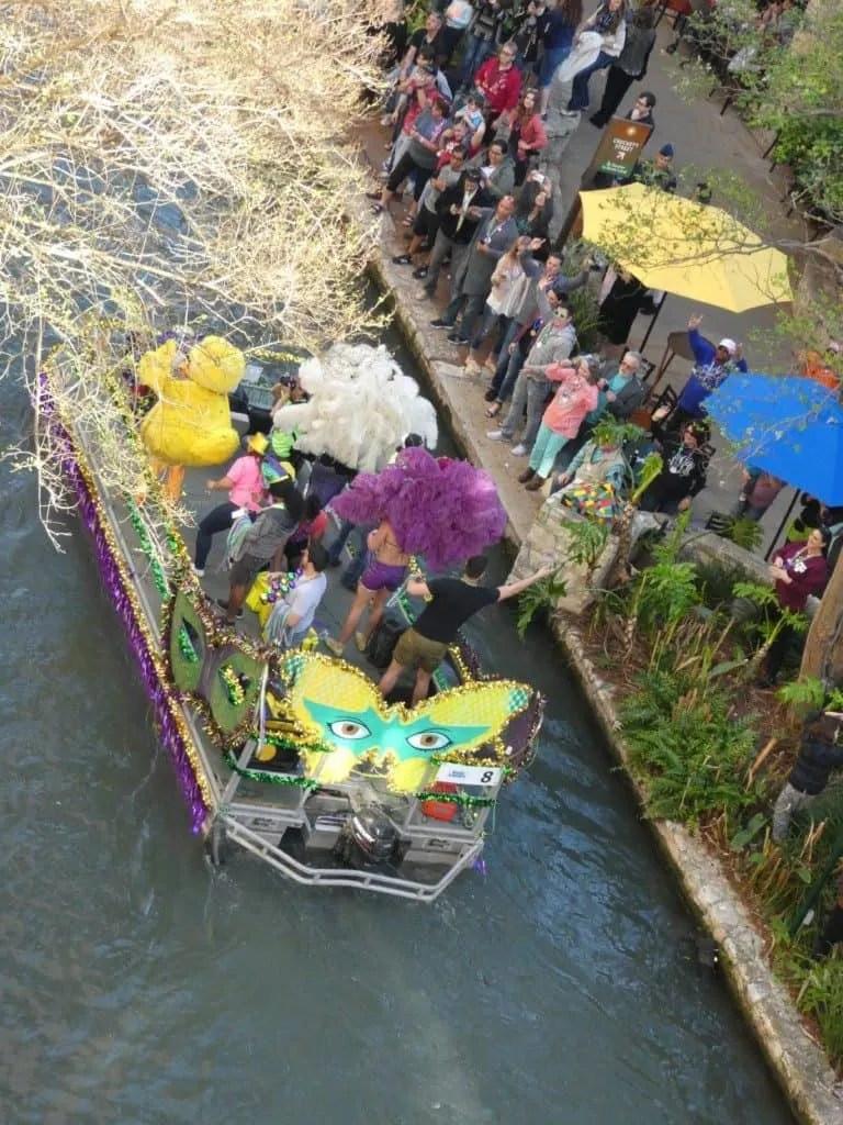 Mardi Gras boat Parade on the San Antonio river walk