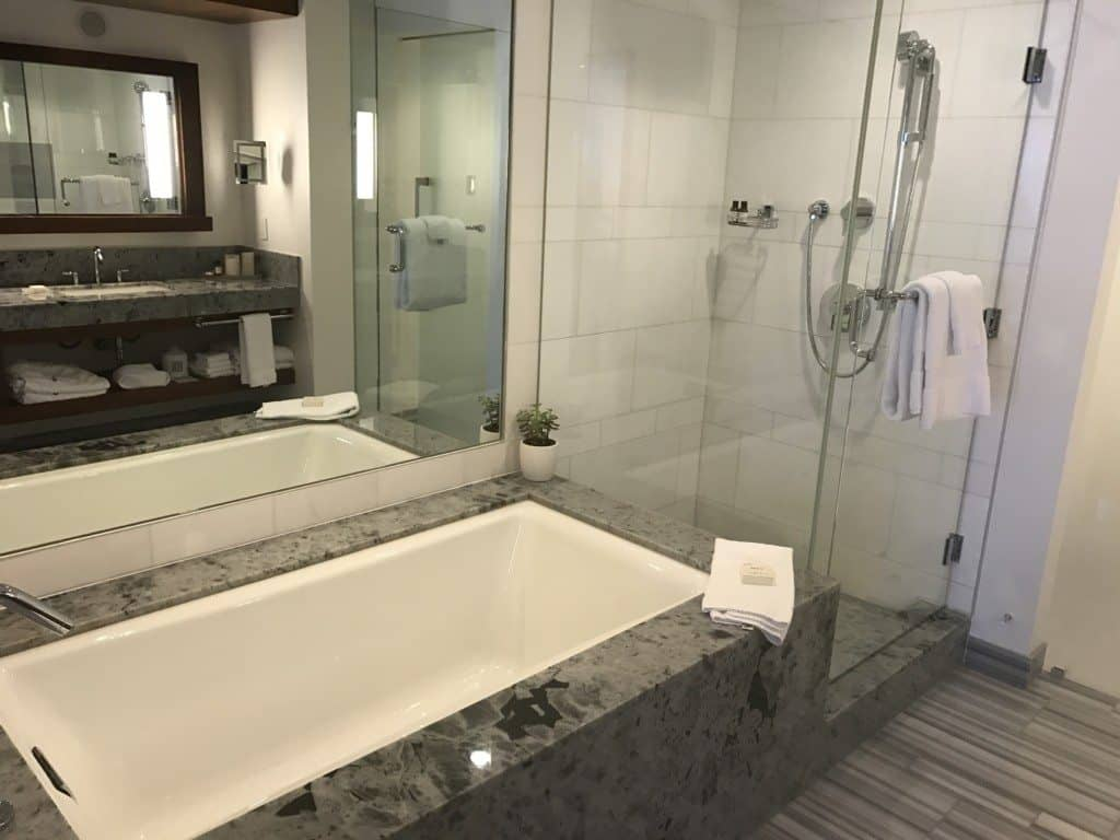 Bathroom in guest room at Fairmont Pacific Rim in Vancouver Canada