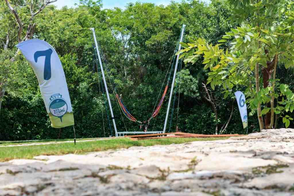 Bungee trampoline at Grand Velas Riviera Maya