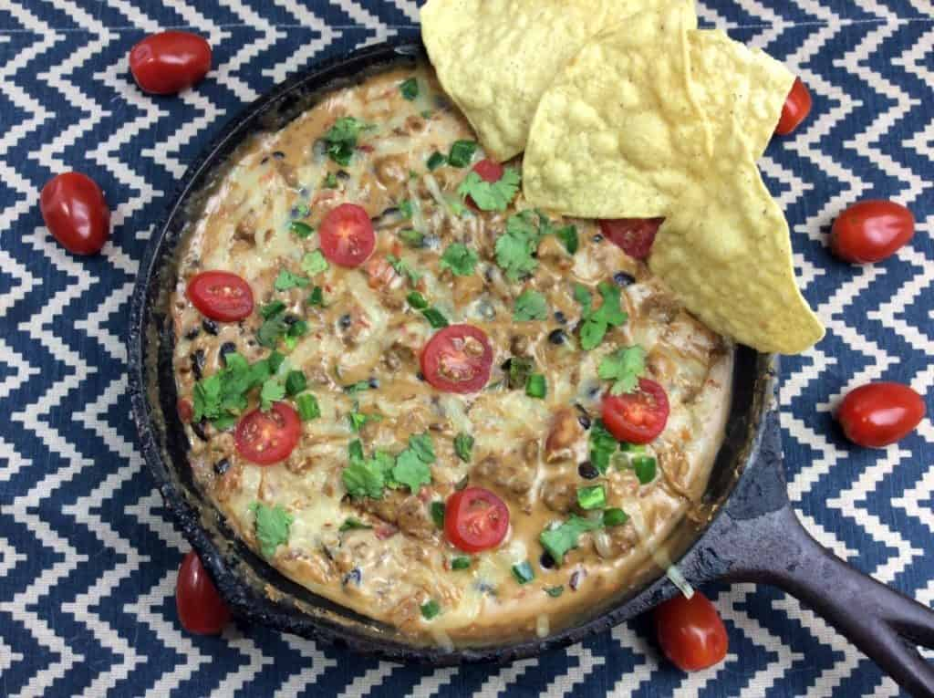 Loaded queso with beans and meat