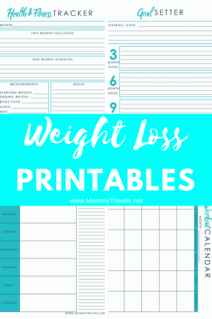 4 Weight loss printables including tracking your measurements, a workout calendar, a weekly meal planner, and goal setting.