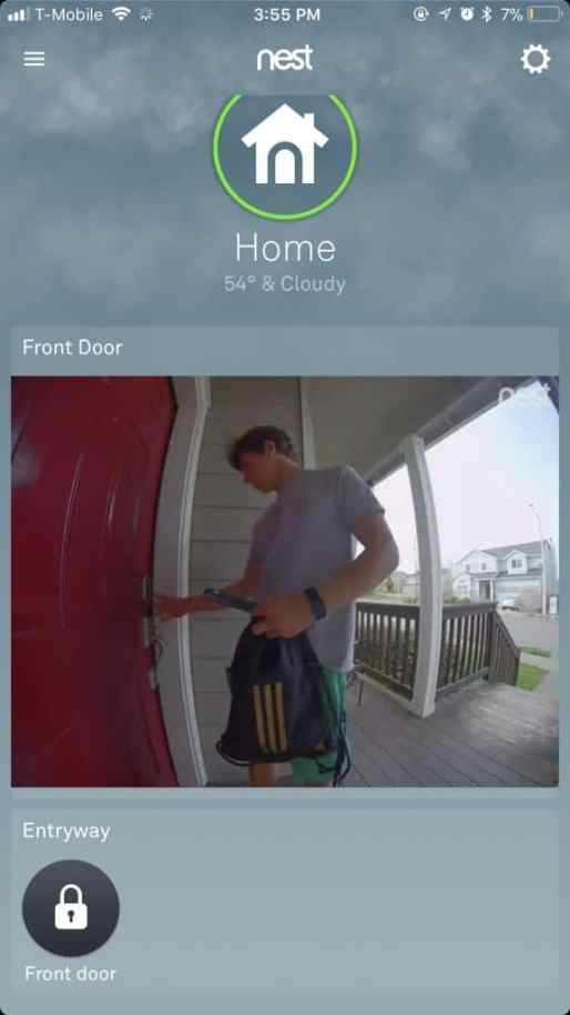 keying into the house using the Nest Yale Lock and the Nest Hello doorbell is monitoring