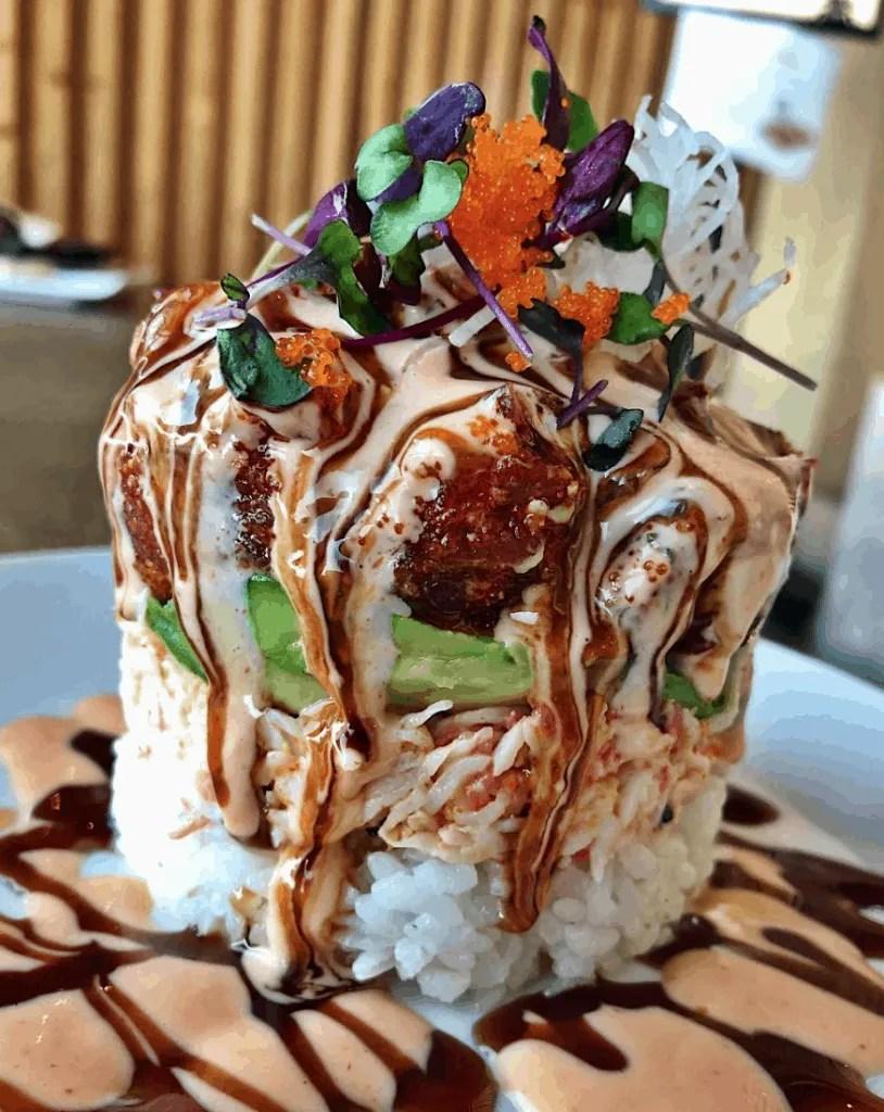 The sushi tower at Jjanga Steak & Sushi