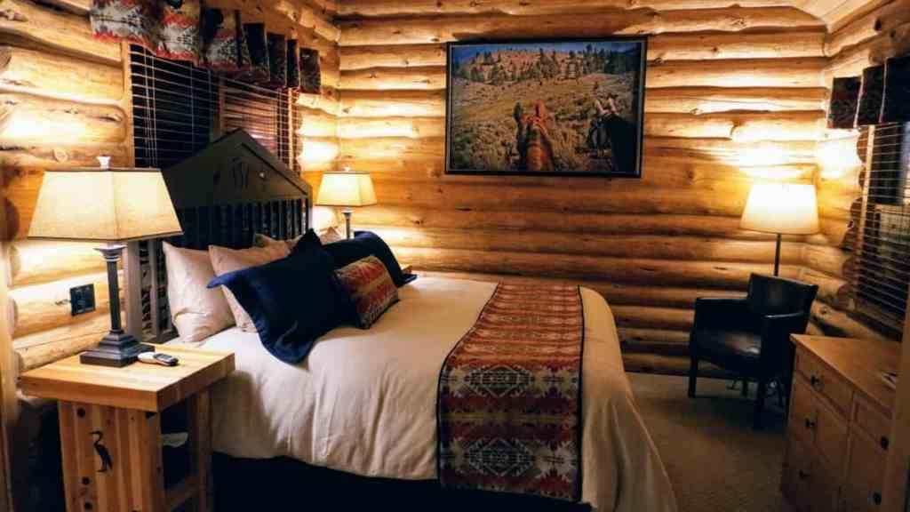 Cabin bedroom at Silvies Valley Ranch