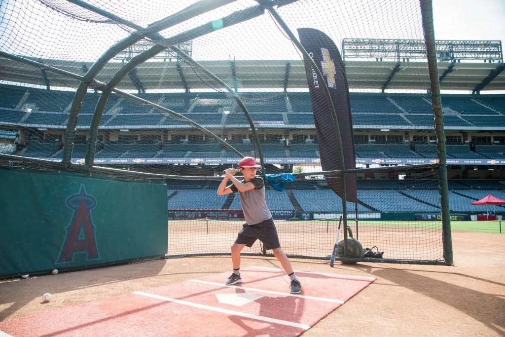 Batting practice at Angels Stadium