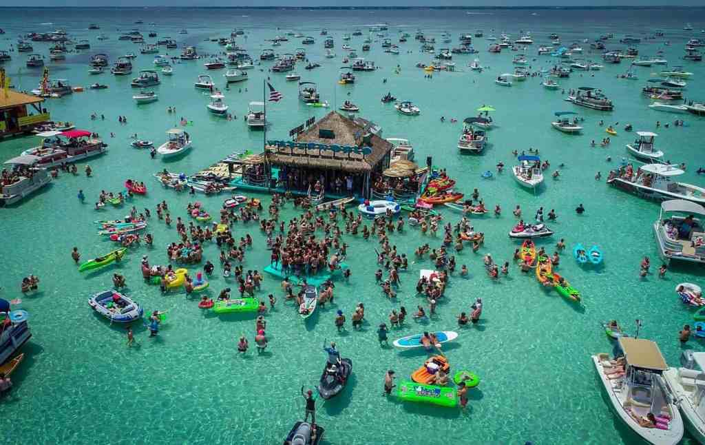 Water World the floating bar in Destin, Florida