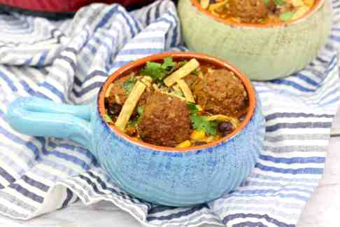 Crockpot Tex Mex Meatball Soup