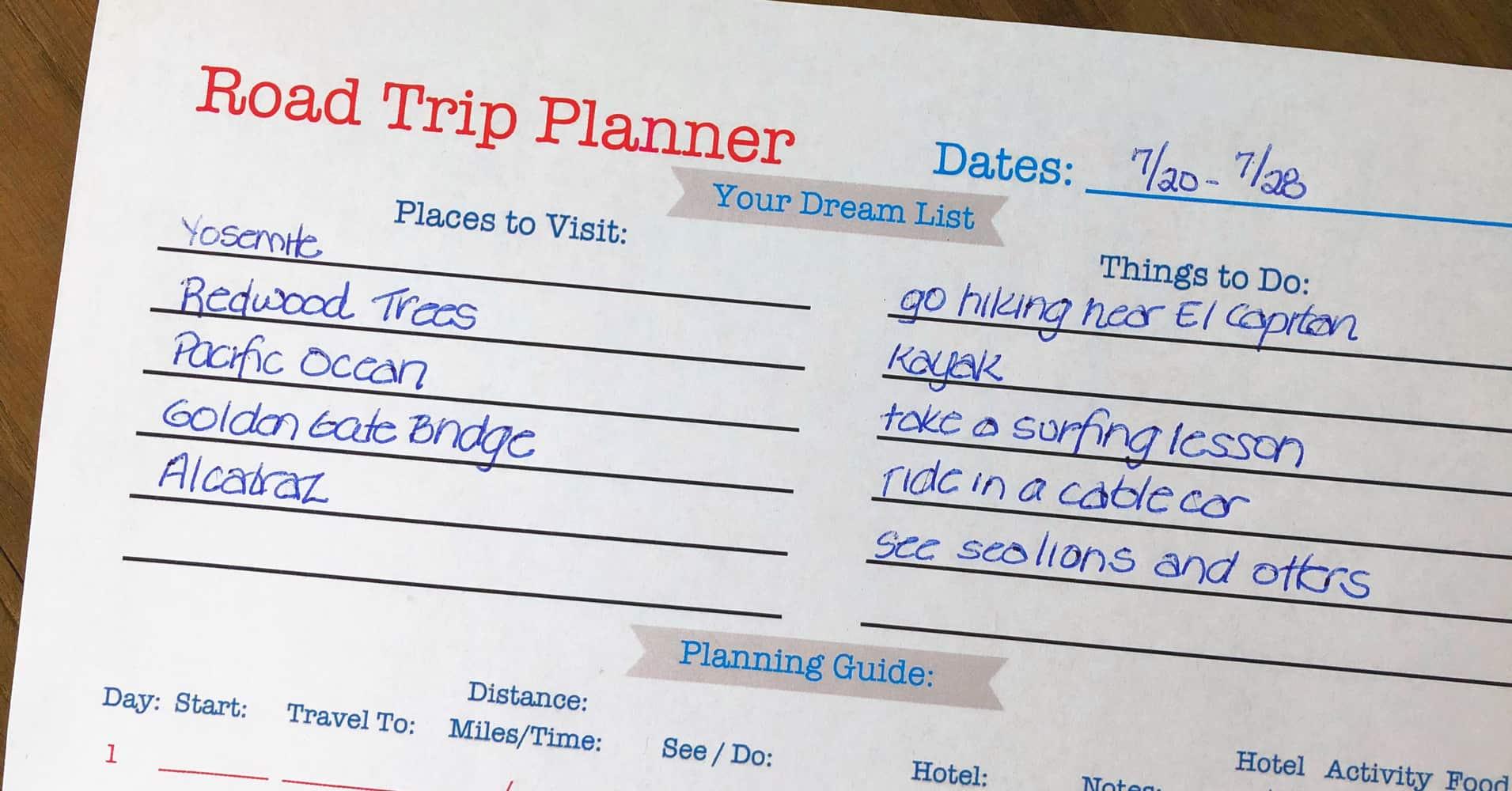 Printable Road Trip Planner