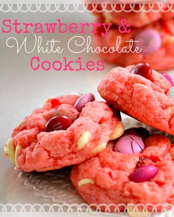 Strawberry and White Chocolate Cake Mix Cookie Recipe