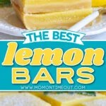 two image lemon bars collage with stacked lemon bars on plate and lemon bars cut on parchment paper. center color block and text overlay.
