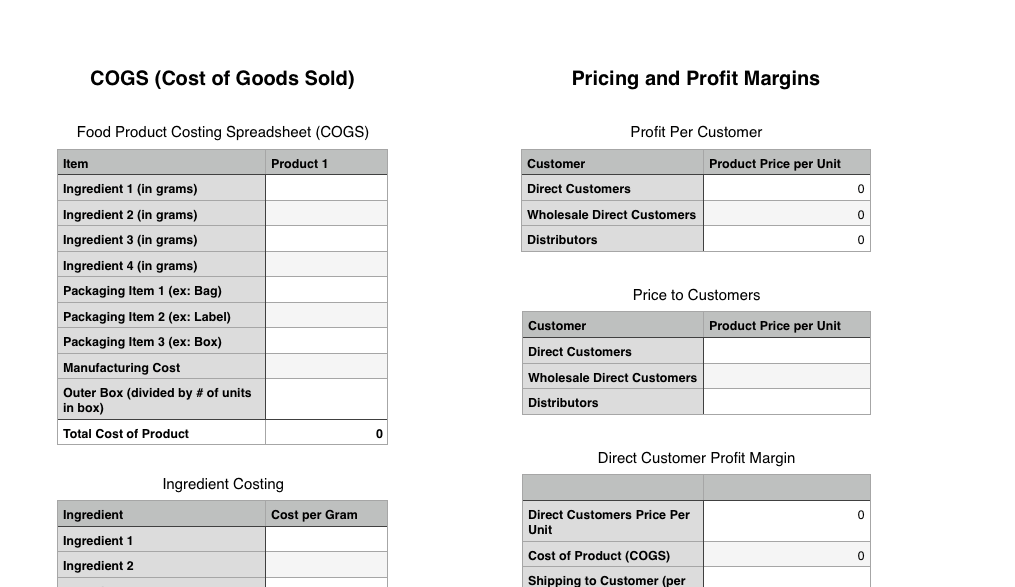 product pricing spreadsheet