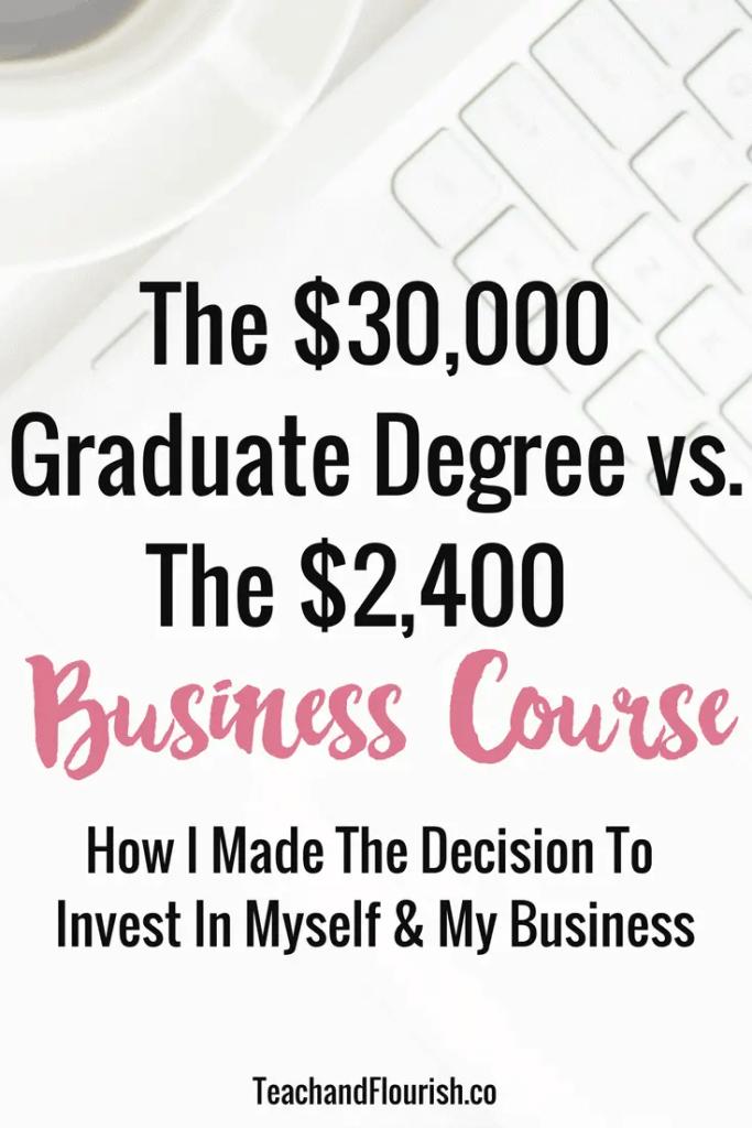 The 30K Graduate Degree vs. The 2K Business Course